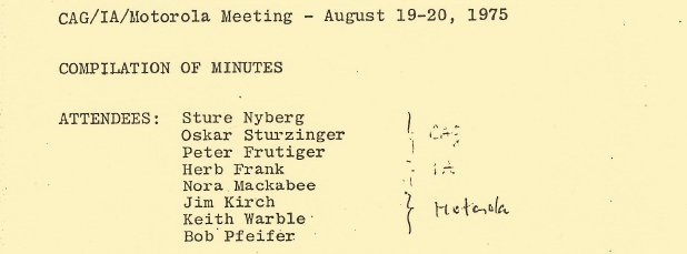 Minutes of a meeting on 19 and 20 August 1975 between Crypto AG (CAG), Intercom Associates (IA) and Motorola - click to read the entire document